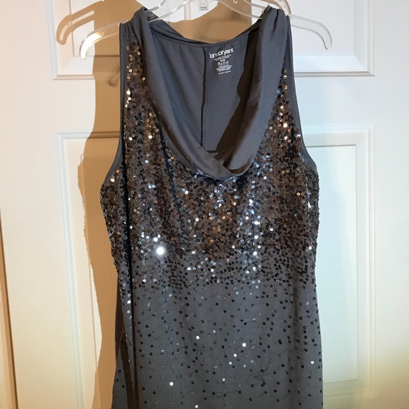 3225fff1398 Lane Bryant Tops - Grey mock turtle neck with silver sequins.